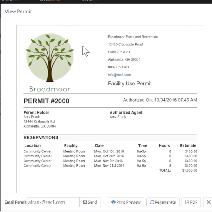 Generate facility permits online