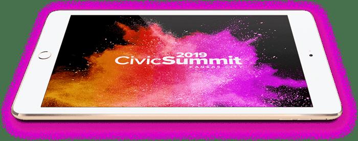 iPad with CivicSummit Logo