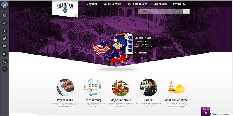 Best of the Web Award Finalist Anaheim, CA - CivicPlus Government Website Awards