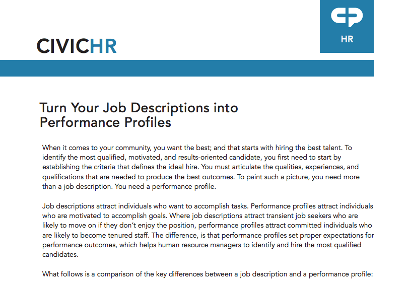 Turn Your Job Descriptions Into Performance Profiles