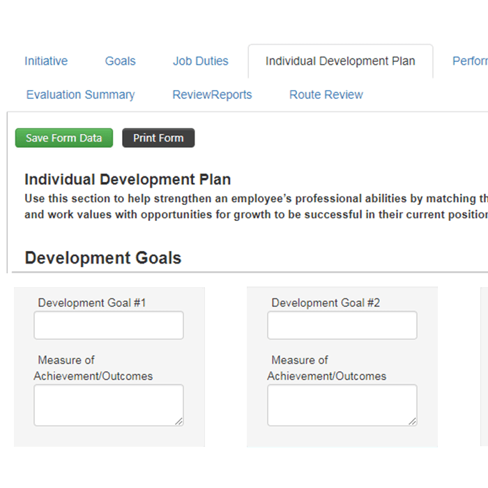 Set development goals